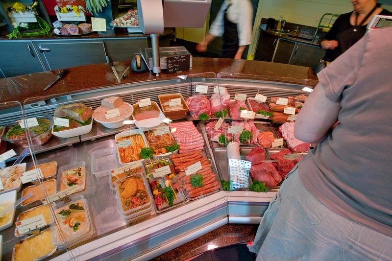 In small butcher shop in France