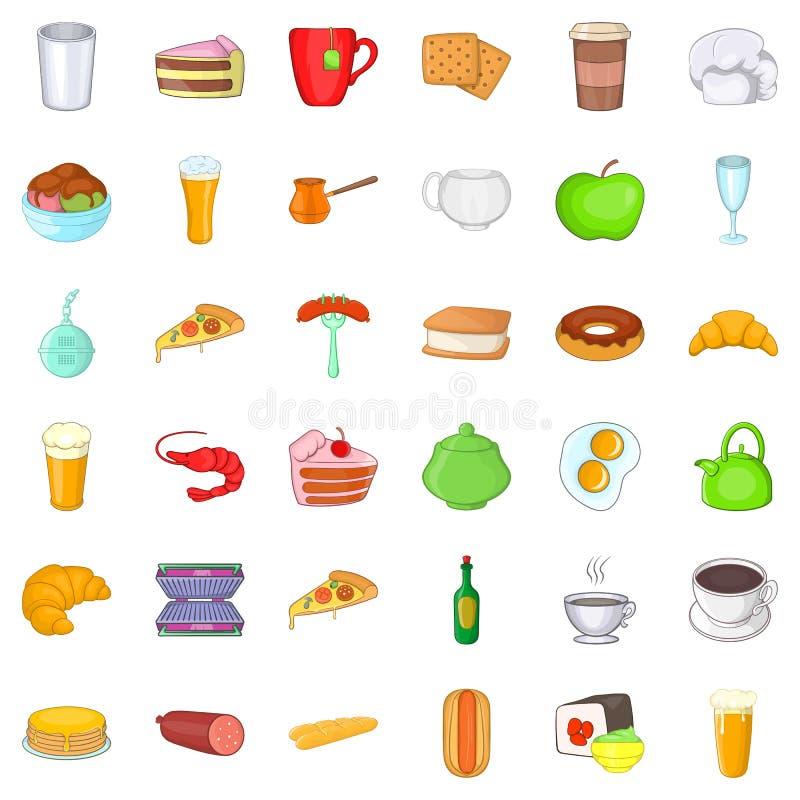 Small cafe icons set, cartoon style royalty free illustration