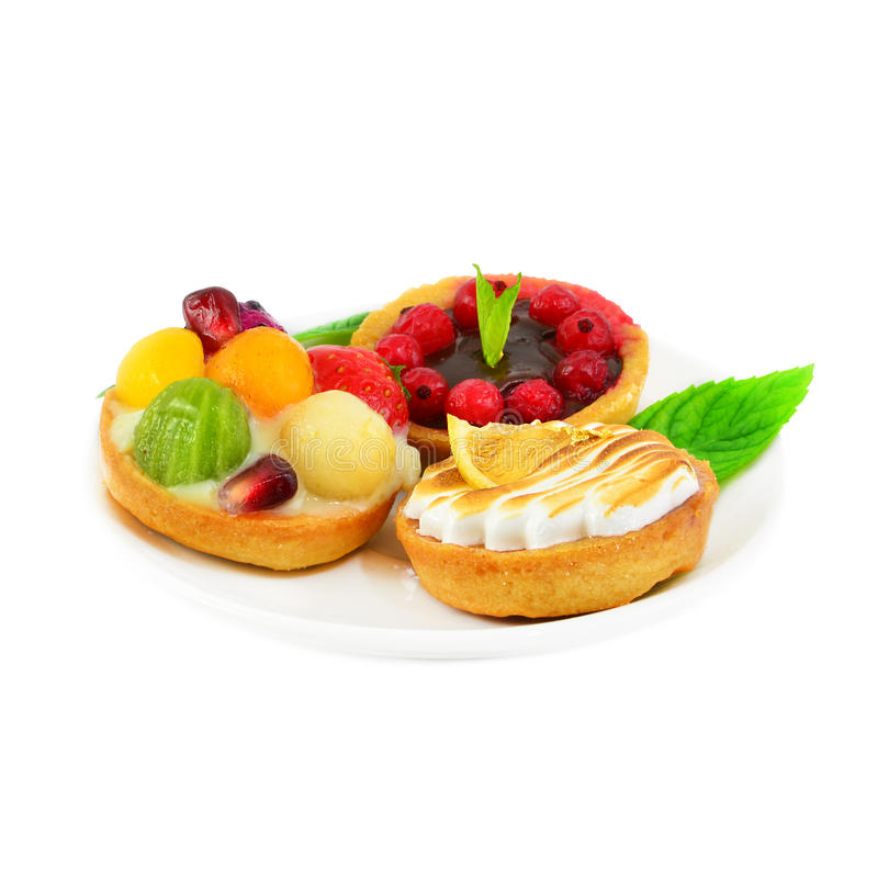 Download Small Cakes With Fruit And Cream Stock Photo - Image: 28514044