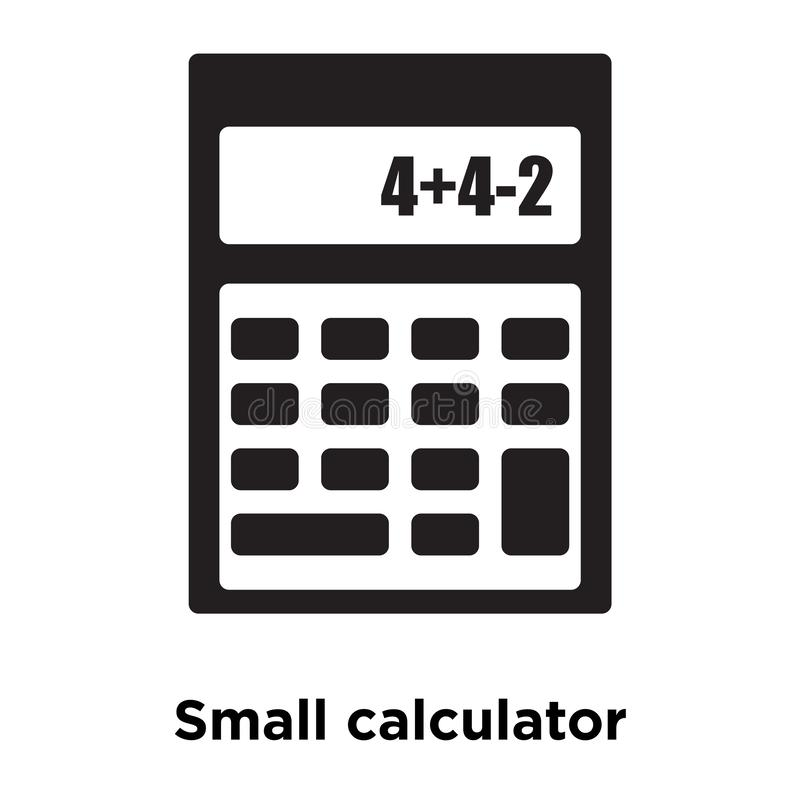 Small calculator icon vector isolated on white background, logo. Concept of Small calculator sign on transparent background, filled black symbol vector illustration