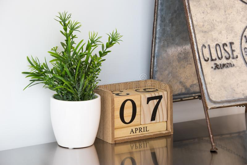 Small calendar wooden made royalty free stock photography