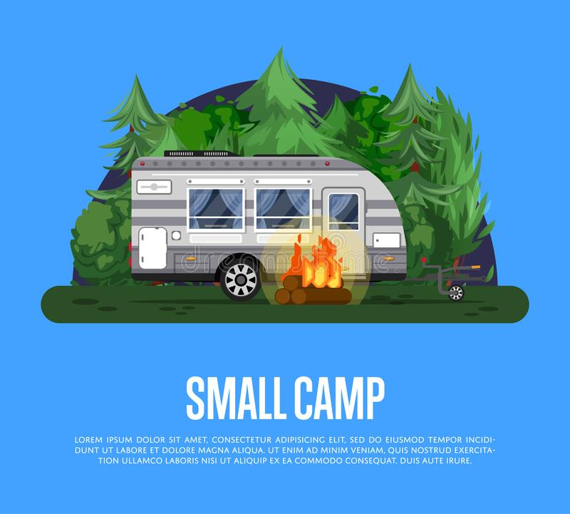 Small camp poster with travel trailer vector illustration