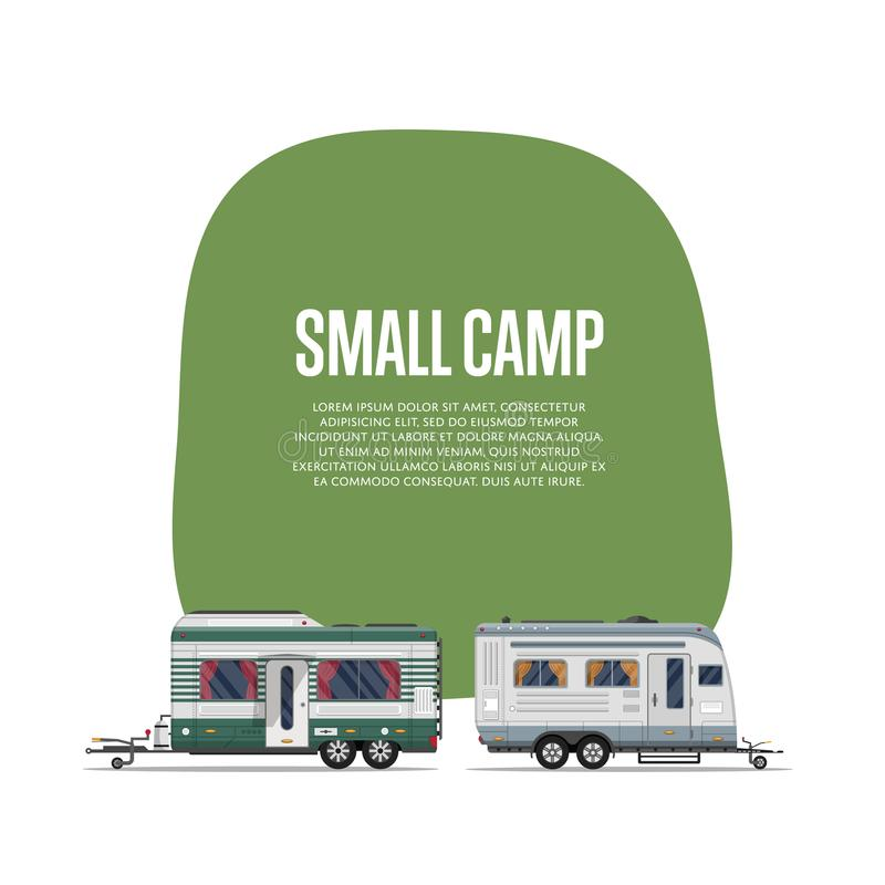 Small camp poster with travel trailers vector illustration