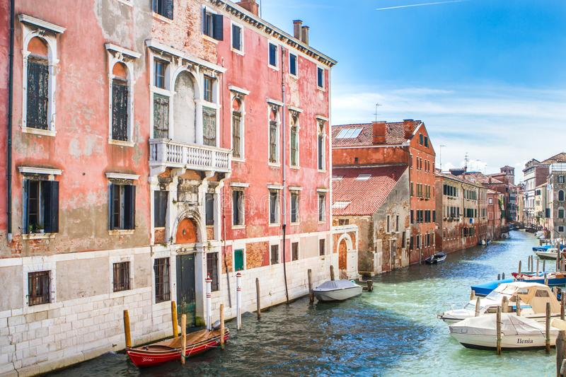Small canal in the east side of Venise stock images