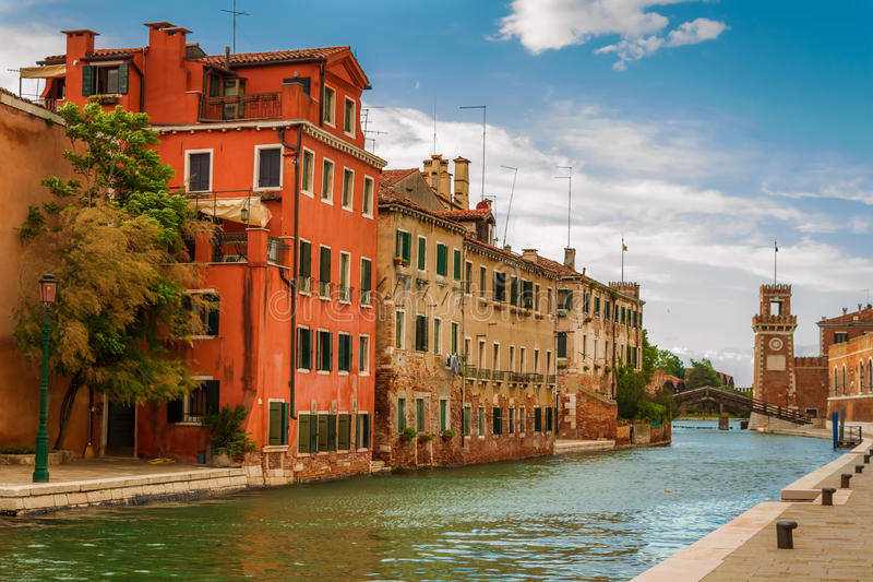 Small canal in Venice between old buildings royalty free stock photo