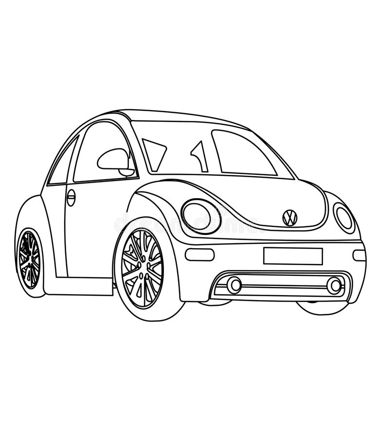 Download Small Car Coloring Page Stock Illustration