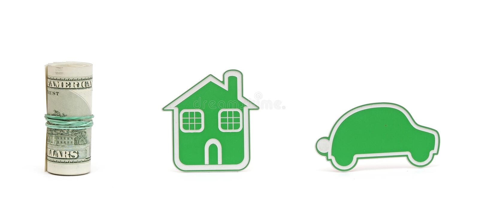 Small Car And House Icon Royalty Free Stock Image
