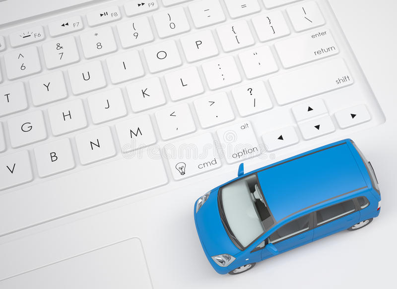 Small car on the keyboard stock illustration