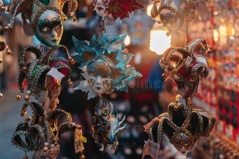 Small carnival masks, venetian souvenirs stock photo
