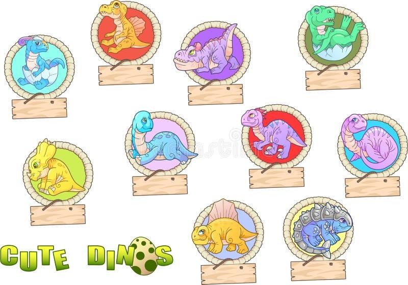 Cartoon cute dinosaurs set of funny images. Small cartoon cute dinosaurs set of funny images royalty free illustration