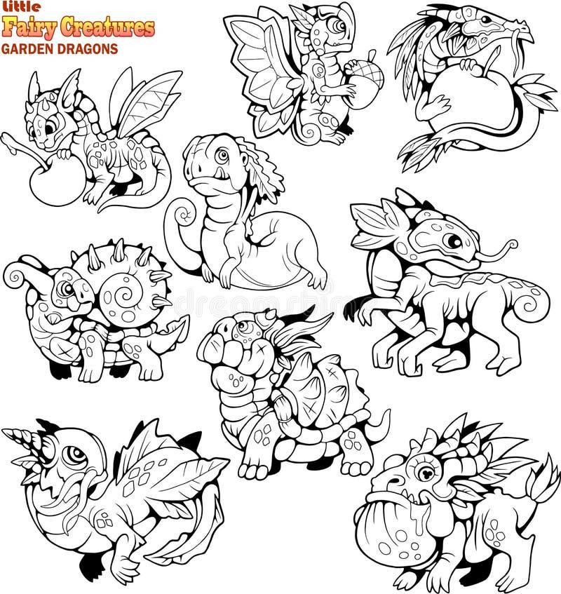 Small, cartoon, garden dragons, coloring book, set of funny images. Cute, small, cartoon, garden dragons, coloring book, set of funny images royalty free illustration