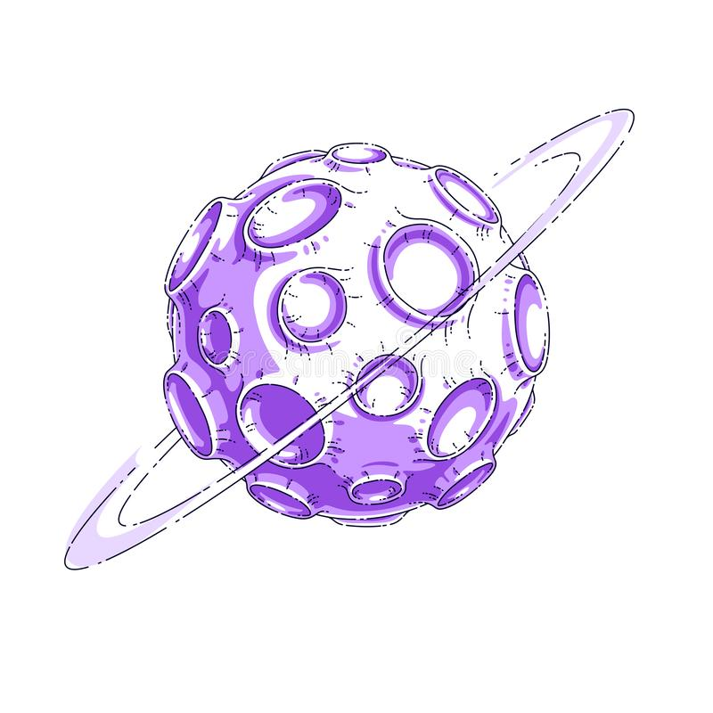 Small cartoon vector fantastic planet with craters from asteroid and meteorite rains fall. Thin line 3d vector illustration. Isolated on white background royalty free illustration