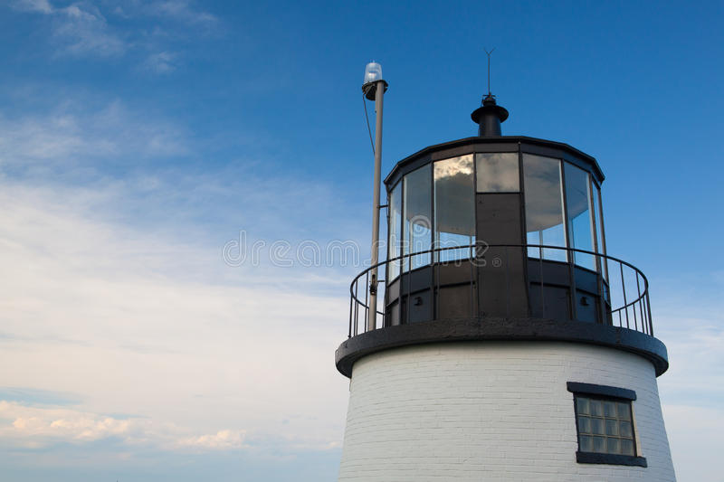 Small Castle Hill lighthouse in Newport, Rhode Island, USA stock images
