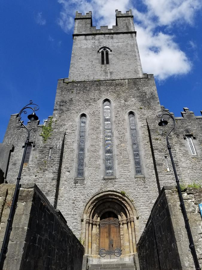 Small Cathedral in Nenagh, Ireland. A small cathedral with old walls in Nenagh, County Tipperary, Ireland in June stock images