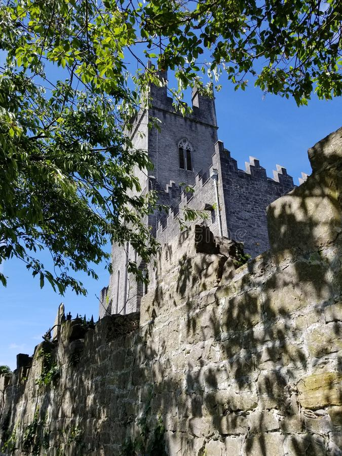Small Cathedral in Nenagh, Ireland. A small cathedral with old walls in Nenagh, County Tipperary, Ireland in June stock image