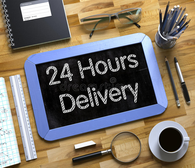 Small Chalkboard with 24 Hours Delivery. 3D. Small Chalkboard with 24 Hours Delivery Concept. Top View of Office Desk with Stationery and Blue Small Chalkboard stock image
