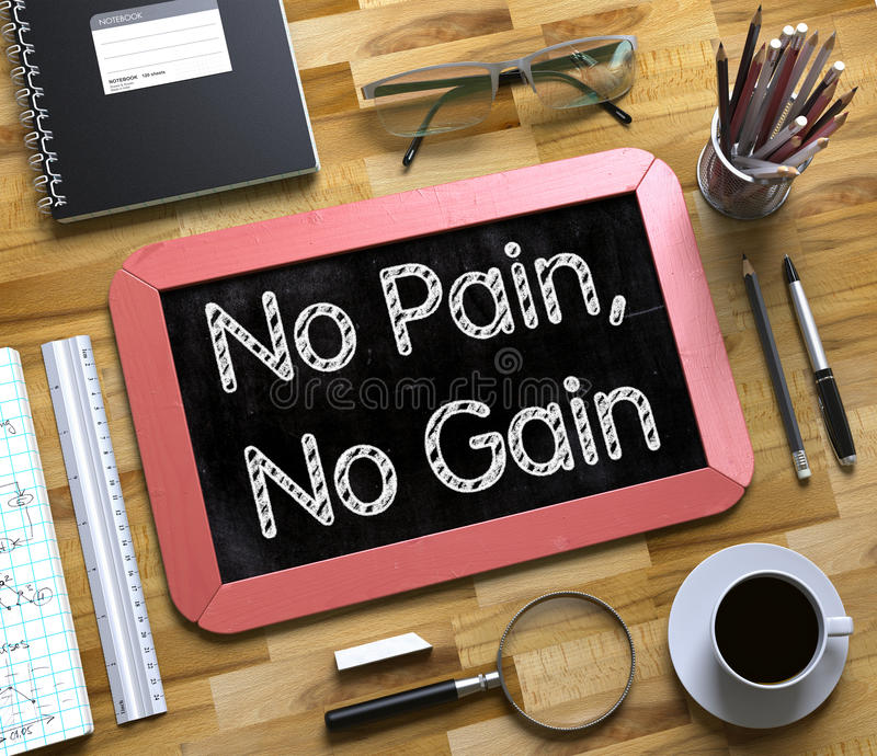 Download Small Chalkboard With No Pain, No Gain Concept. 3D. Stock Illustration - Image: 86685815