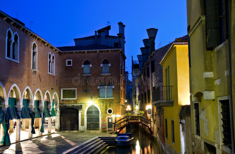 A small channel in San Polo at the blue hour royalty free stock image