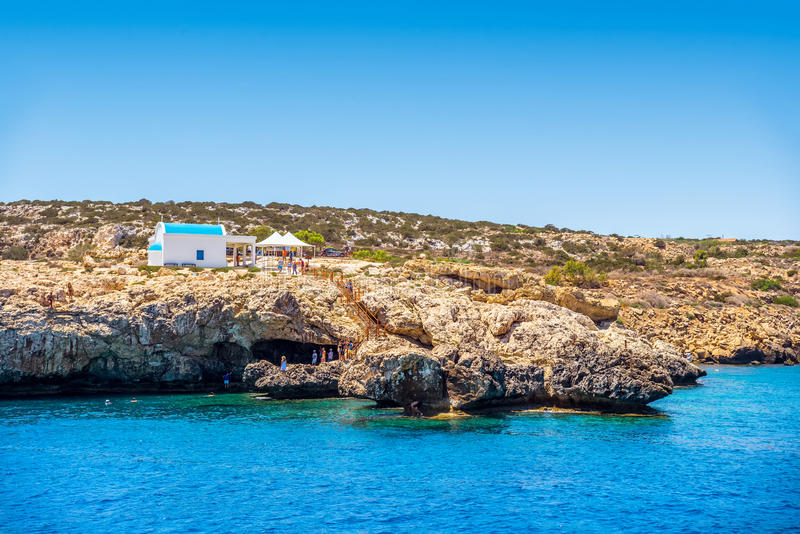 A small chapel dedicated to Agioi Anargyroi near Cape Greco. Famagusta District, Cyprus stock photos