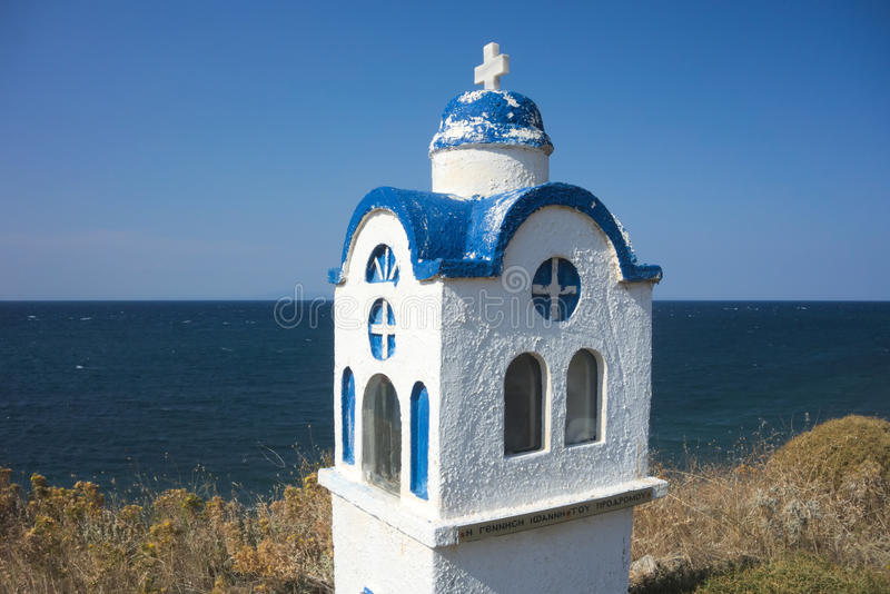 Small chapel in Greece. Miniature chapel along the roadside in the mountains of Samothrace, Greece stock image
