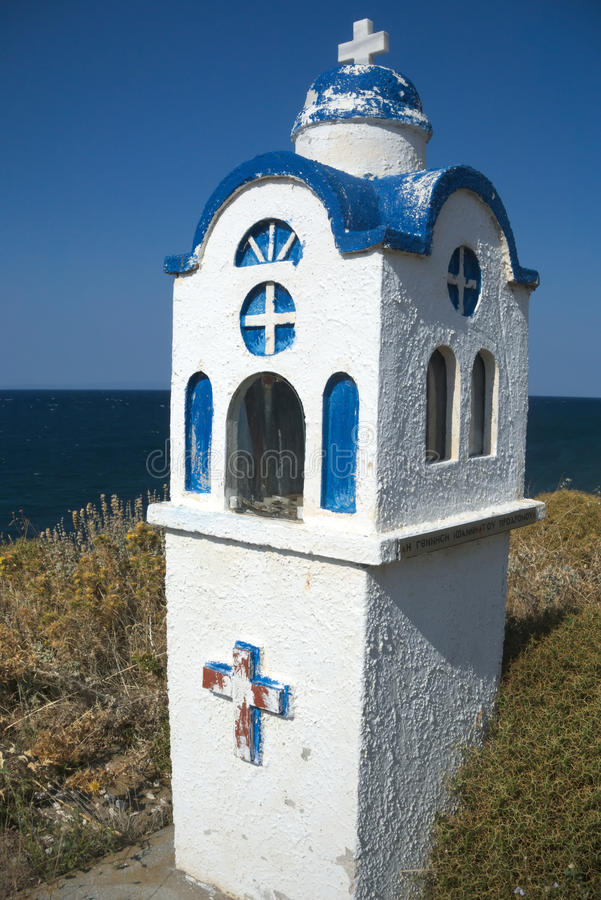 Small chapel in Greece. Miniature chapel along the roadside in the mountains of Samothrace, Greece royalty free stock photos