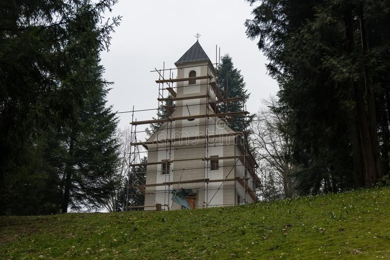 Small Chapel on the Hilltop on Trakošćan royalty free stock image