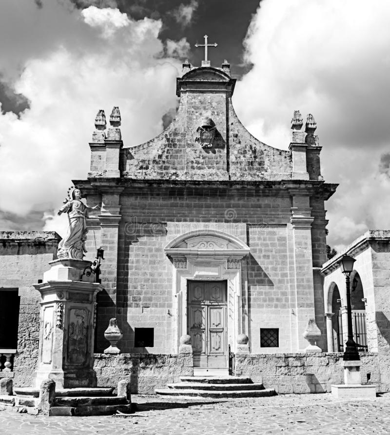 Small Chapel in Malta in black and white. The small chapel known as Tal-Hlas in Malta royalty free stock image