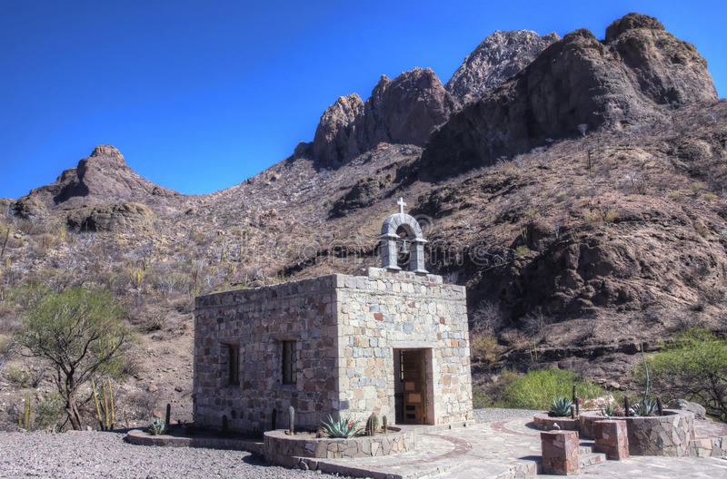 Small chapel, Mexican mountains, Baja. stock photo