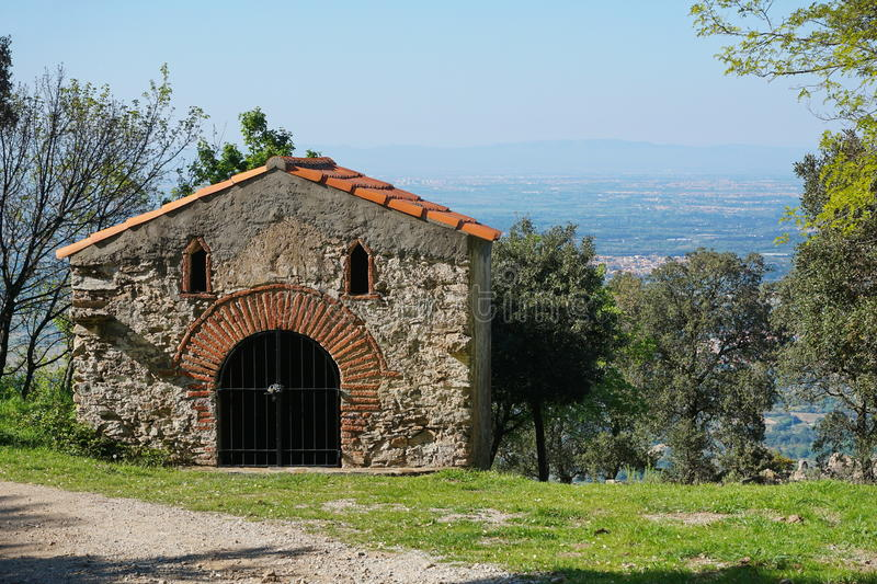 Small chapel Pyrenees Orientales Sorede France. Small chapel of the Christ near Sorede, Pyrenees Orientales, Roussillon, south of France stock photos