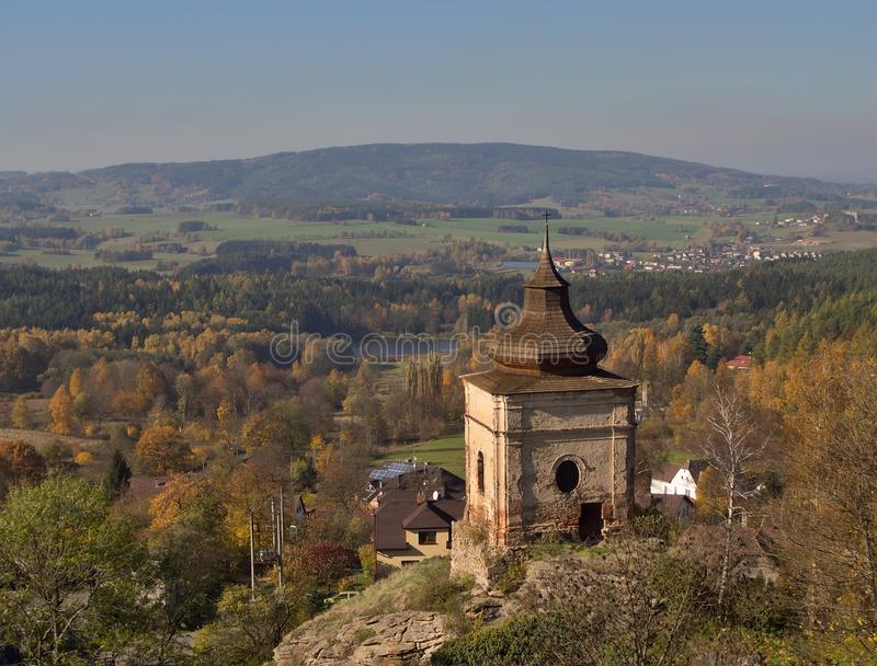 Small chapel on the rock just by the Lipnice nad Sázavou gothic style castle, one the biggest castles in teh Czech republic. Small chapel on the rock just by royalty free stock photo
