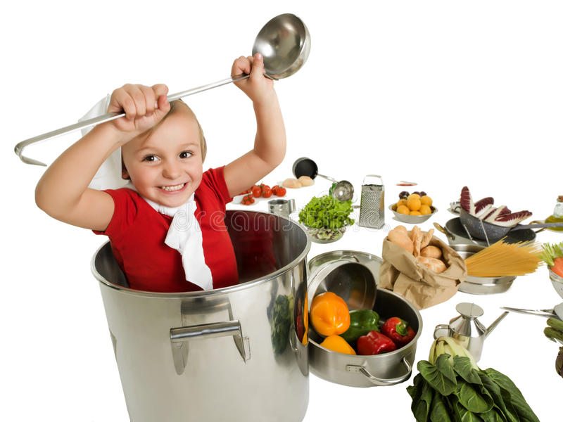 Small chef in large pot. With ladle stock image