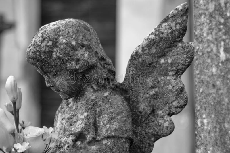 Small cherub angel in granite ruined stock photo