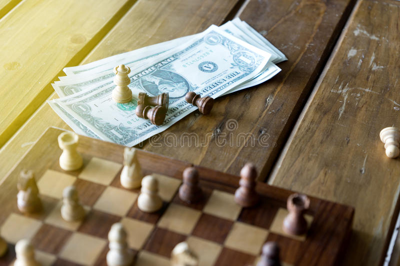 small chess on wood table royalty free stock images