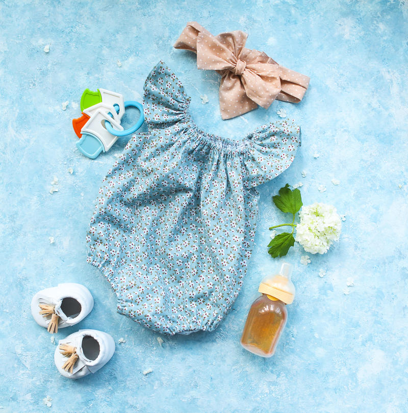 Free Small Child Accessories On Turquoise Background Royalty Free Stock Image - 95957816