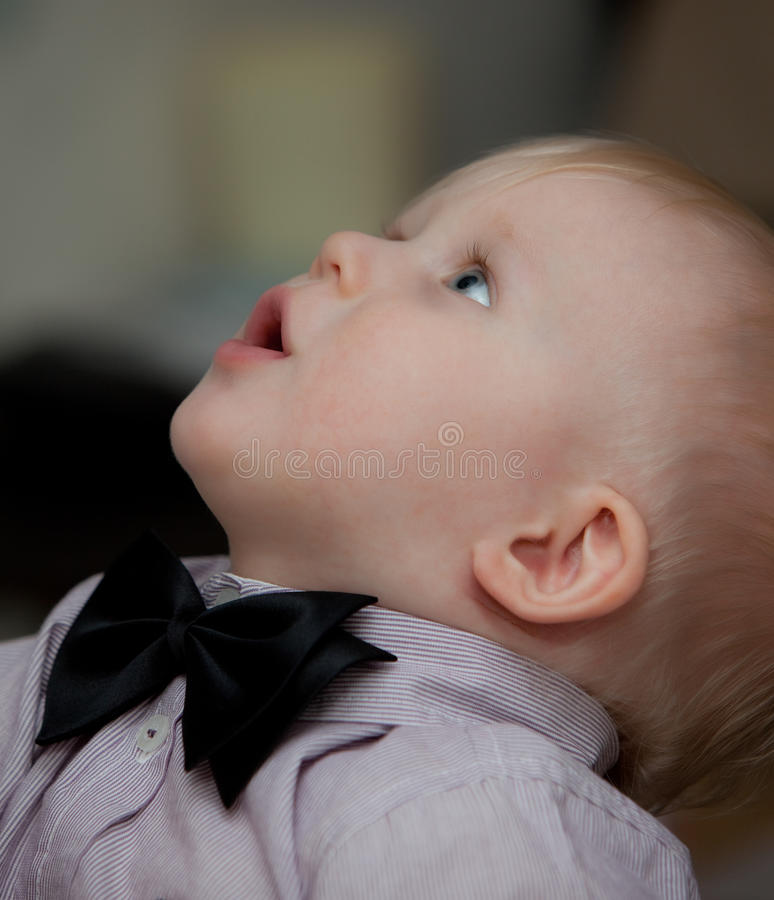 Download Small child with bow tie stock image. Image of care, caucasian - 12680705