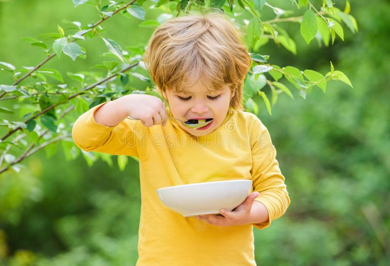 Small child enjoy homemade meal. Nutrition for kids. Little toddler boy eat porridge outdoors. Having great appetite royalty free stock photography