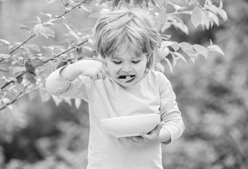 Small child enjoy homemade meal. Nutrition for kids. Little toddler boy eat porridge outdoors. Having great appetite. Organic nutrition. Healthy nutrition royalty free stock photography
