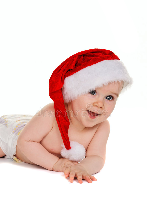Download Small Child With Santa Claus Hat Baby Stock Photo - Image: 8549138