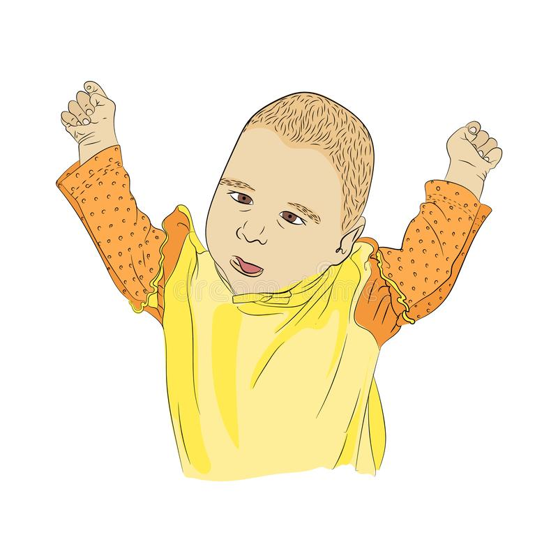 a small child smacks into the blood. hands up vector illustration