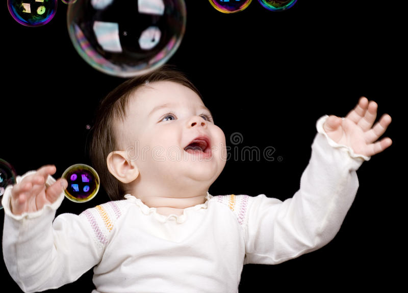 The small child and soap bubbles royalty free stock images