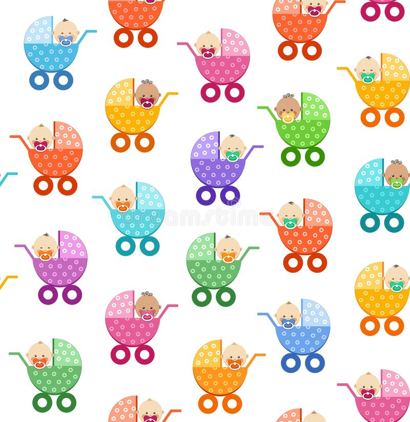 Babies in strollers, seamless pattern, white, vector. Small children in coloured baby carriages on a white background. Color, flat background. Vector picture stock illustration