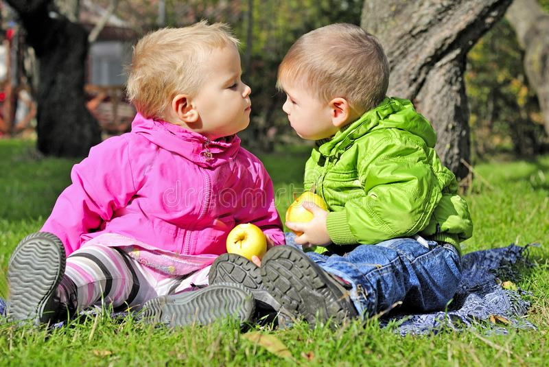 Small children kiss on a green clearing in the autumn. A Small children kiss on a green clearing in the autumn stock image