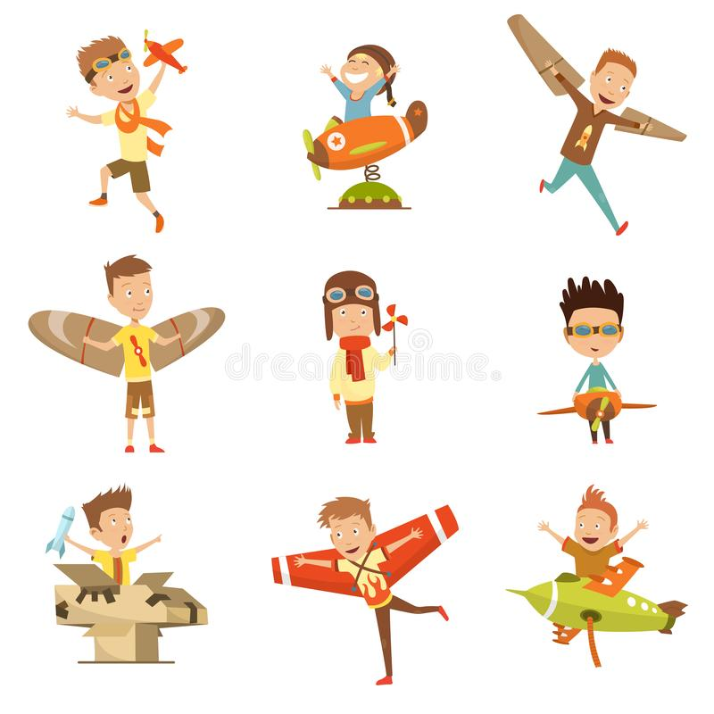 Small Children In Pilot Costumes Dreaming Of Piloting The Plane, Playing With Toys Adorable Cartoon Characters. royalty free illustration