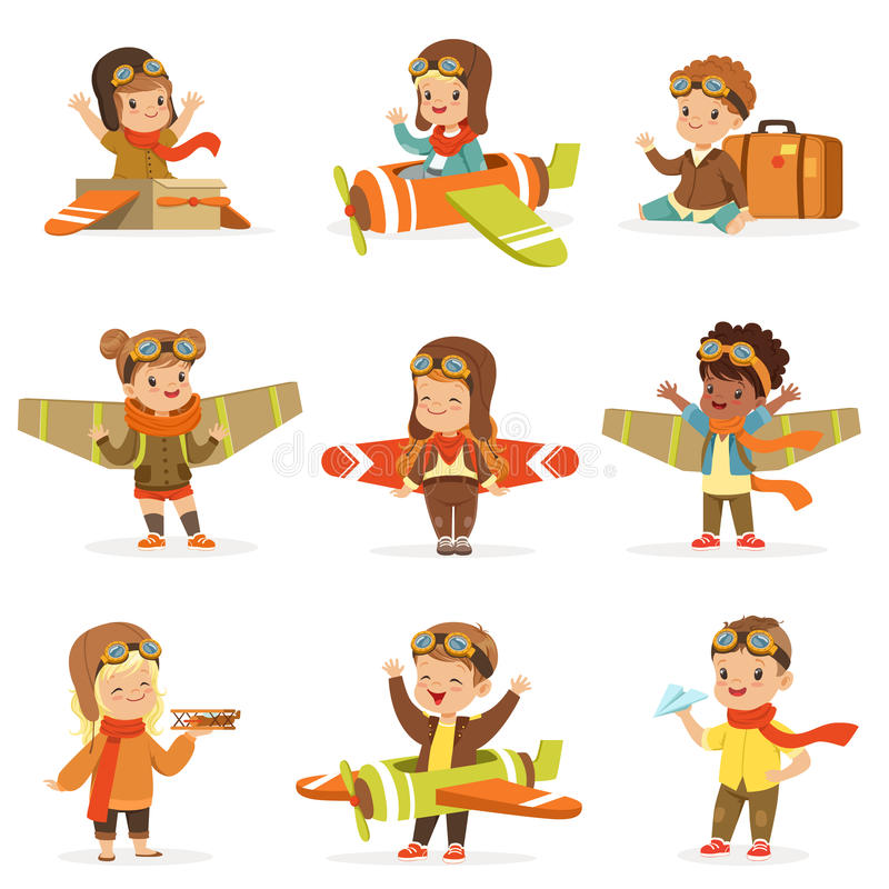 Small Children In Pilot Costumes Dreaming Of Piloting The Plane, Playing With Toys Adorable Cartoon Characters stock illustration
