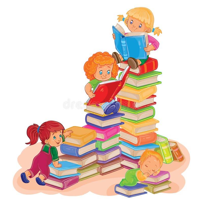 Small children reading a book. Vector illustration of small children reading a book stock illustration