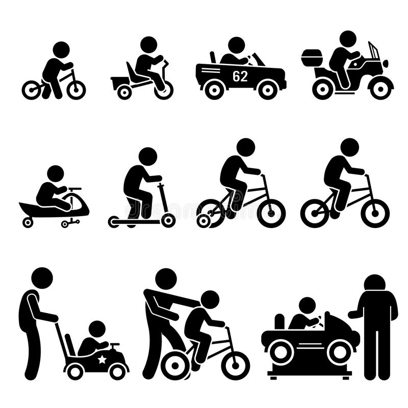 Small Children Riding Toy Vehicles and Bicycle Set Clipart vector illustration
