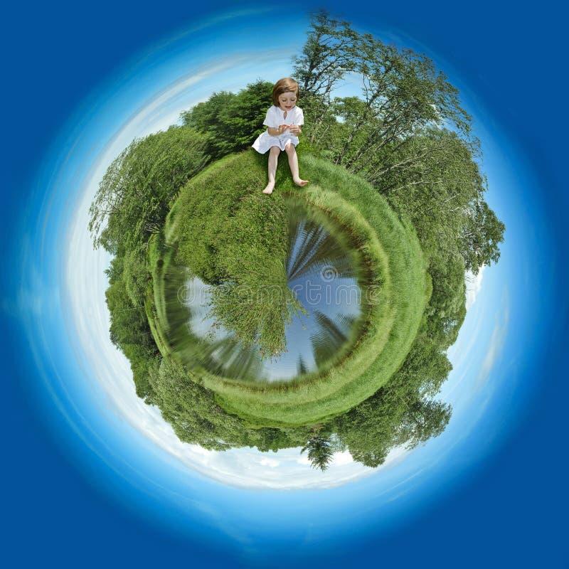 Small children's fantasy planet stock photo