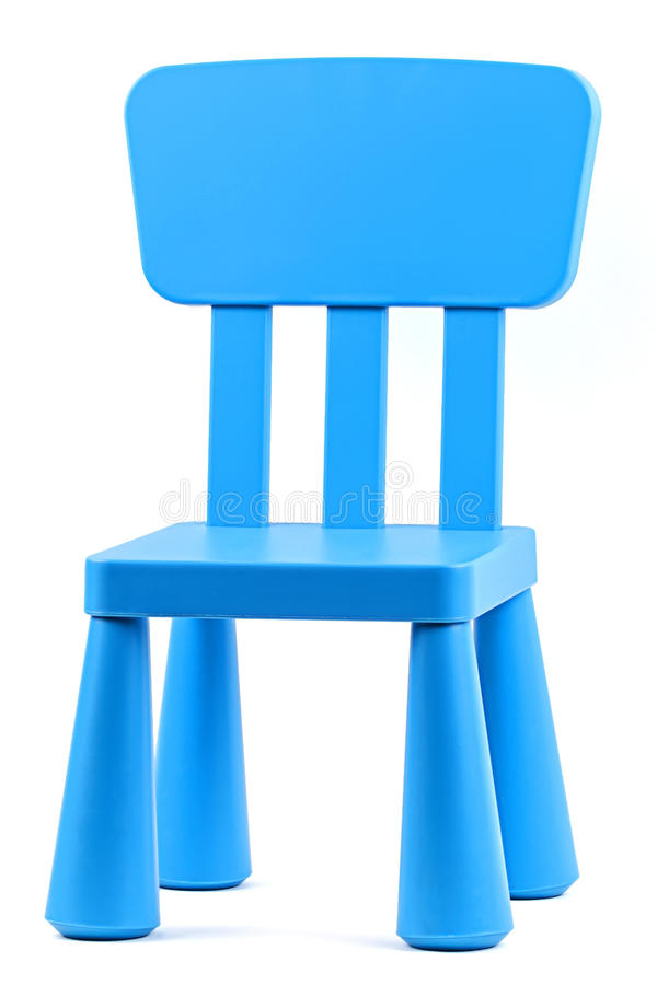 Small childrens chair. Small blue childrens chair on a white background stock images
