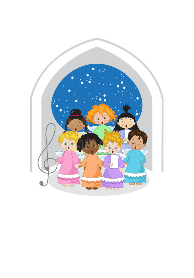 Small chorus of angels. Small angels of various ethnicities singing in chorus in a chapel on white background stock illustration