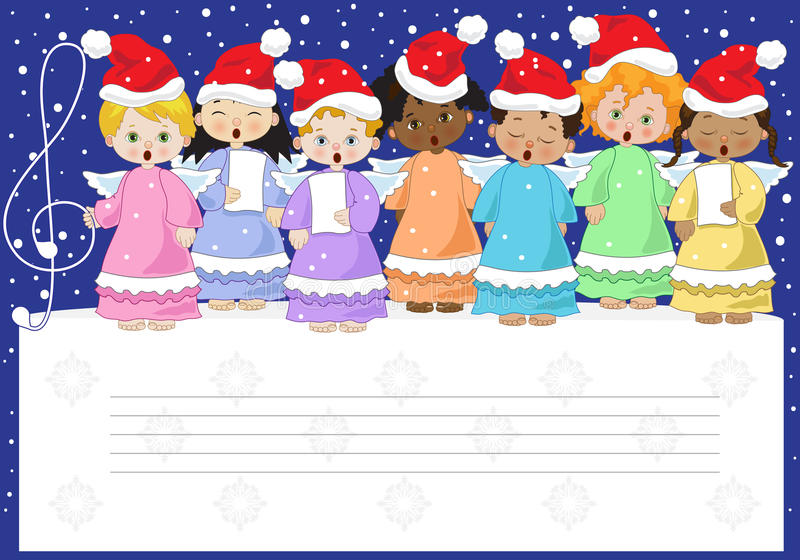 Small chorus of angels. A small chorus of angels of various ethnicities singing on christmas background stock illustration